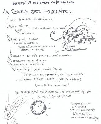 La sera del frumento: cena vegetariana alla Zelata 28/09